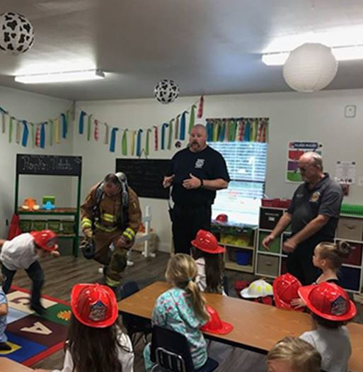 Firefifghters visiting a classroom