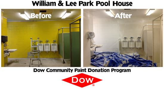 William and Lee Park Pool House Before and After Dow Community Paint Donation Program